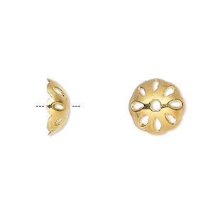 bead cap, gold-finished sterling silver, 10x5mm round, fits 8-10mm bead. sold per pkg of 4.
