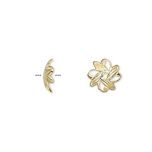 bead cap, gold-plated brass, 10x3mm fancy leaf, fits 10-12mm bead. sold per pkg of 100.