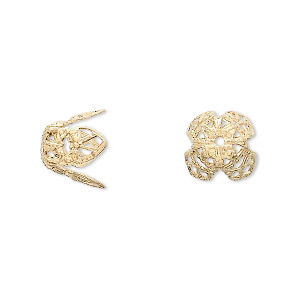 bead cap, gold-plated brass, 11x10mm long filigree, fits 12-14mm bead. sold per pkg of 10.