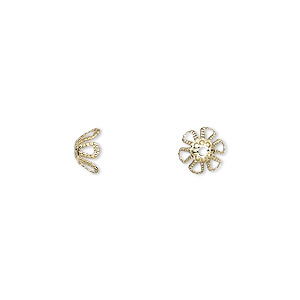 bead cap, gold-plated brass, 7x4mm flower, fits 7-9mm bead. sold per pkg of 500.