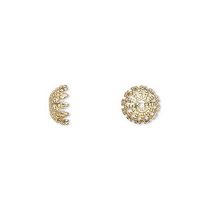 bead cap, gold-plated brass, 8x4mm fancy round, fits 8-10mm bead. sold per pkg of 500.
