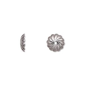 bead cap, gunmetal-plated brass, 10x2.5mm round with swirl design, fits 10mm bead. sold per pkg of 100.