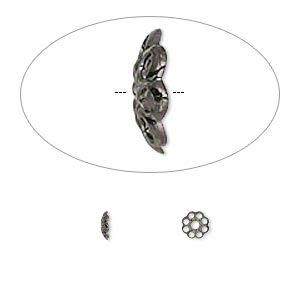 bead cap, gunmetal-plated brass, 4x1mm fancy round with cutout pattern, fits 4-6mm bead. sold per pkg of 100.