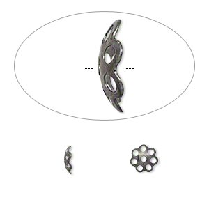 bead cap, gunmetal-plated brass, 6x2mm round with cutout pattern, fits 6-8mm bead. sold per pkg of 100.