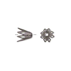 bead cap, gunmetal-plated brass, 9x8mm fancy star, fits 8-10mm bead. sold per pkg of 50.