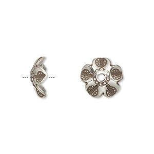 bead cap, hill tribes, antiqued fine silver, 11x5mm flower, fits 10-12mm bead. sold per pkg of 2.