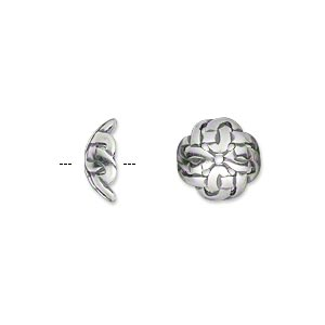 bead cap, jbb findings, antique silver-plated pewter (tin-based alloy), 11x4.5mm celtic knot, fits 10-14mm bead. sold per pkg of 2.
