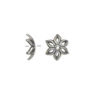 bead cap, jbb findings, antique silver-plated pewter (tin-based alloy), 12x4mm open flower, fits 12-14mm bead. sold per pkg of 2.