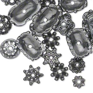 bead cap mix, gunmetal-finished pewter (zinc-based alloy), 6x2mm-18x6mm mixed shape. sold per pkg of 50.