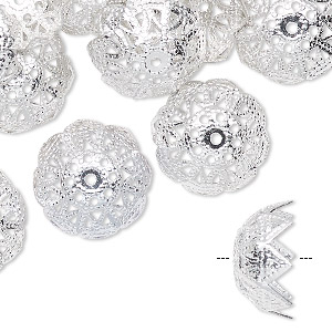 bead cap, silver-finished aluminum, 15x8mm flower with cutout design, fits 14-16mm bead. sold per pkg of 24.