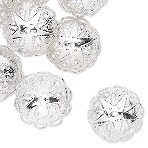 bead cap, silver-finished aluminum, 19x7mm fancy round with star and cutout design, fits 17-18mm bead. sold per pkg of 24.