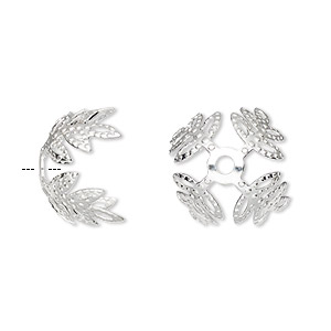 bead cap, silver-plated brass, 15x10mm leaf, fits 15-18mm bead. sold per pkg of 100.