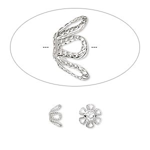 bead cap, silver-plated brass, 7x4mm flower, fits 7-9mm bead. sold per pkg of 1,000.