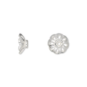 bead cap, silver-plated copper, 11x4mm flower with cutouts, fits 10-12mm bead. sold per pkg of 20.