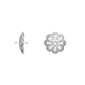 bead cap, stainless steel, 11x2.5mm flower with cutouts and dots, fits 10-14mm bead. sold per pkg of 20.