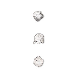 bead cap, sterling silver, 5.5x5mm flower, fits 5-6mm bead. sold per pkg of 6.