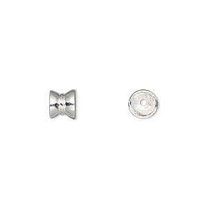 bead cap, sterling silver, 6x6mm double round, fits 6-8mm bead. sold per pkg of 12.