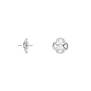 bead cap, sterling silver, 7x2mm flower, fits 6-8mm bead. sold per pkg of 6.