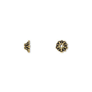 bead cap, tierracast, antique gold-plated pewter (tin-based alloy), 6x2.5mm round flower, fits 5-7mm bead. sold per pkg of 4.