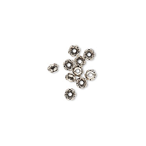 bead cap, tierracast, antique silver-plated pewter (tin-based alloy), 3.5x2mm scalloped round, fits 2-4mm bead. sold per pkg of 10.