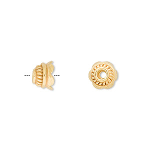 bead cap, vermeil, 8x5mm flower, fits 7-9mm bead. sold per pkg of 6.