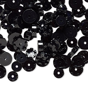 bead cap, vintage german acrylic, black, 6x1.5mm-8x2.5mm scalloped round, fits up to 5mm bead. sold per pkg of 100.