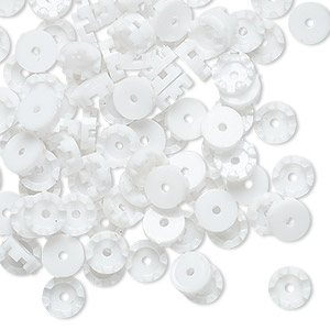 bead cap, vintage german acrylic, white, 6x2mm scalloped round, fits 3.5mm bead. sold per pkg of 100.