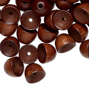 bead cap, vintage german wood (dyed / coated), dark brown, 10x7mm round, fits 8mm bead. sold per pkg of 100.