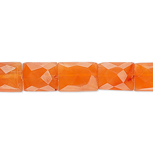 bead, carnelian (dyed / heated), 10x8mm-17x11mm hand-cut faceted rectangle, b grade, mohs hardness 6-1/2 to 7. sold per 16-inch strand.