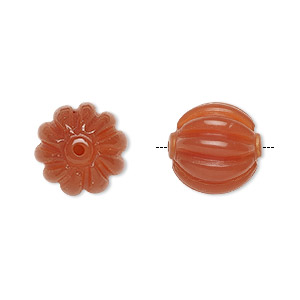 bead, carnelian (dyed / heated), 14mm hand-cut carved fluted round, b grade, mohs hardness 6-1/2 to 7. sold per pkg of 2.