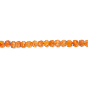 bead, carnelian (dyed / heated), 3x2mm-4x3mm hand-cut faceted rondelle, b- grade, mohs hardness 6-1/2 to 7. sold per 13-inch strand.