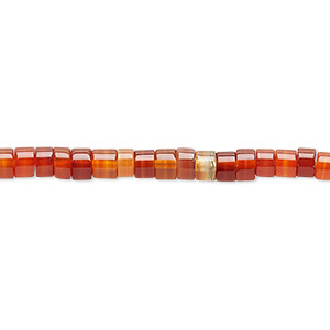 bead, carnelian (dyed / heated), 4x2mm hand-cut heishi, c grade, mohs hardness 6-1/2 to 7. sold per 16-inch strand.