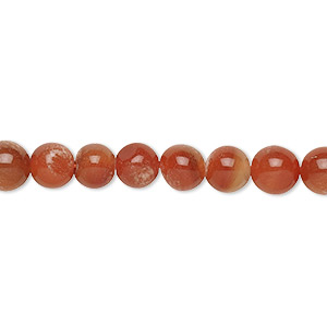 bead, carnelian (dyed / heated), 6-7mm hand-cut round, c- grade, mohs hardness 7. sold per 13-inch strand.