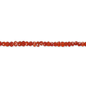 bead, carnelian (dyed / heated), dark, 3x1mm-4x2mm hand-cut faceted rondelle, b grade, mohs hardness 6-1/2 to 7. sold per 13-inch strand.