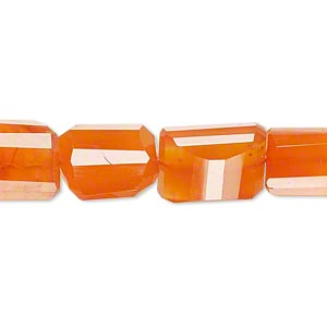 bead, carnelian (dyed / heated), mini to small hand-cut tumbled faceted freeform nugget, mohs hardness 6-1/2 to 7. sold per pkg of 10.