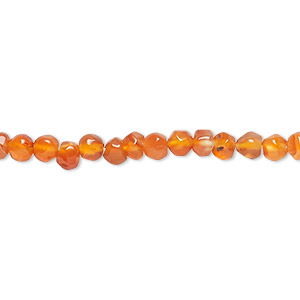 bead, carnelian (dyed / heated), shaded, 3-4mm hand-cut faceted round, c+ grade, mohs hardness 6-1/2 to 7. sold per 13-inch strand.