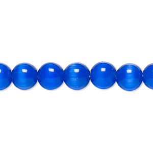 bead, cats eye glass, dark blue, 8mm round, quality grade. sold per 16-inch strand.