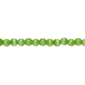bead, cats eye glass, dark green, 4mm round with 0.7-0.9mm hole, quality grade. sold per 16-inch strand.