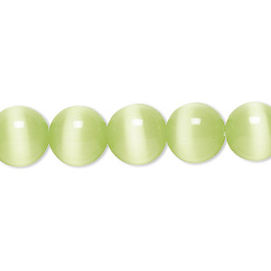 bead, cats eye glass, light green, 10mm round, quality grade. sold per 16-inch strand.