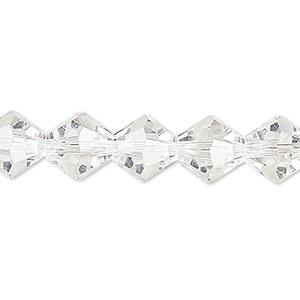bead, celestial crystal, 16-facet, clear, 10mm faceted bicone. sold per 16-inch strand.