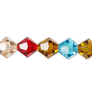 bead, celestial crystal, 16-facet, multicolored, 10mm faceted bicone. sold per 16-inch strand.