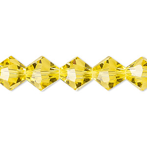 bead, celestial crystal, 16-facet, transparent yellow, 10mm faceted bicone. sold per 16-inch strand.