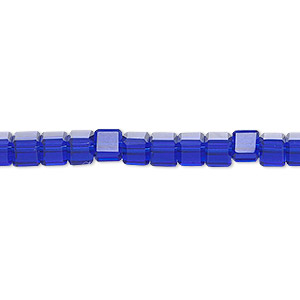 bead, celestial crystal, 18-facet, cobalt, 4x4mm faceted cube. sold per 16-inch strand.