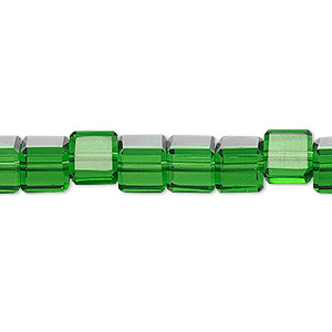 bead, celestial crystal, 18-facet, emerald green, 6x6mm faceted cube. sold per 16-inch strand.