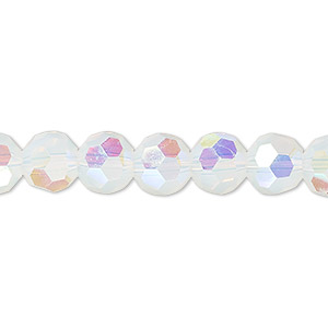bead, celestial crystal, 32-facet, frosted transparent clear ab, 8mm faceted round. sold per 16-inch strand.