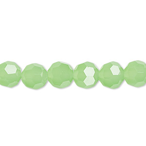 bead, celestial crystal, 32-facet, green frost, 8mm faceted round. sold per 16-inch strand.