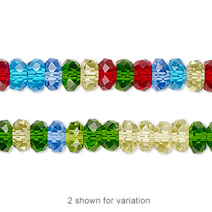 bead, celestial crystal, 32-facet, multicolored, 8x4mm faceted disc. sold per 16-inch strand.