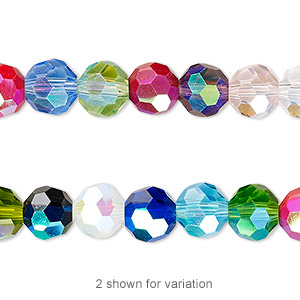 bead, celestial crystal, 32-facet, opaque to transparent multicolored ab, 8mm faceted round. sold per 16-inch strand.
