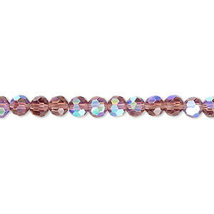 bead, celestial crystal, 32-facet, transparent amethyst purple ab, 4mm faceted round. sold per 16-inch strand.