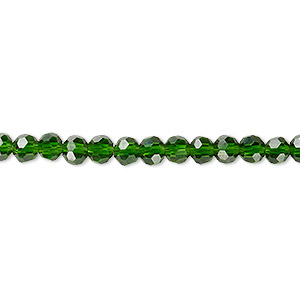 bead, celestial crystal, 32-facet, transparent emerald green, 4mm faceted round. sold per 16-inch strand.